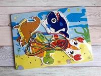 Шнуровка-пазлы на планшете Морские животные 2