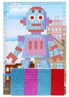 Аппликация по номерам малая Робот