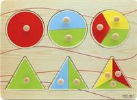 Вкладыши дроби геометрические фигуры