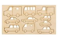"""Деревянные заготовки """"Машинки"""" на планшетке 10 шт"""