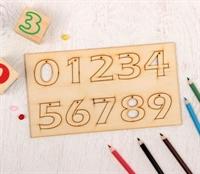 """Деревянные заготовки """"Цифры от 0 до 9"""" на планшетке 10 шт"""