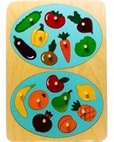 """Рамка-вкладыш """"Фрукты и овощи"""", 16 деталей"""