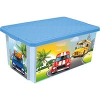 Ящик для игрушек City Cars голубой