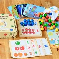 Мозаика деревянная 19 карточек Изучаем цифры, цвет и времена года