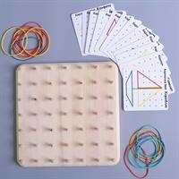 Геоборд со схемами, 12 двусторонних карточек