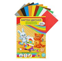 Картон цветной А4, 10 листов, 10 цветов Мягкие игрушки, волшебный Золото+Серебро, плотность 220 г/м2