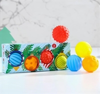 """Подарочный набор развивающих мячиков """"Елка с игрушками"""" 4 шт."""