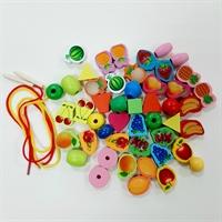 """Шнуровка бусы """"Овощи-фрукты"""" 48 деталей"""